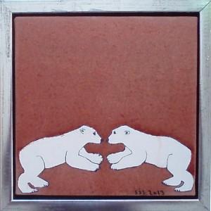 2 små isbjørne | 2013 | 20 x 20 cm, olie | 1000 kr.