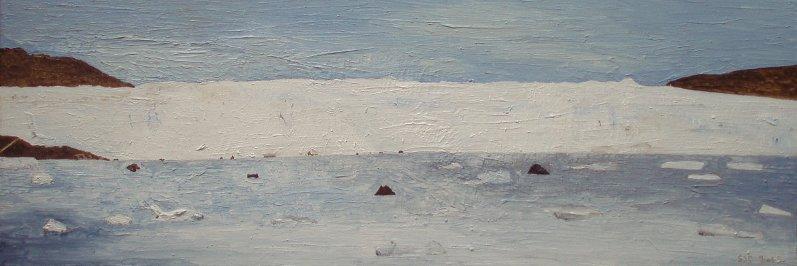 Eqip Sermia bræen (Eqi-gletsjeren) | 2015 | 30 x 90 cm, olie | 3500 kr.