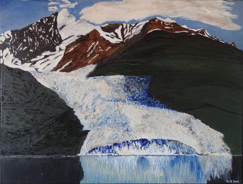 Gletsjer og bræ i Chugach bjergene i Alaska, 2016, 60 x 80 cm. olie, 3500 kr.