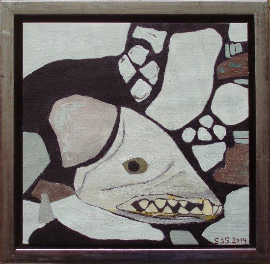 Hundehoved, Kullorsuaq | 2014 | 20 x 20 cm, olie og akryl | 1200 kr.