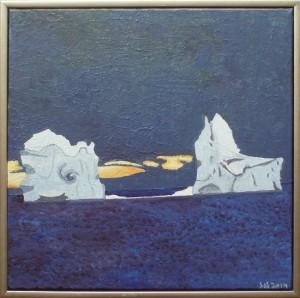 Isbjerge i aftenlys, Vestgrønland | 2014 | 50 x 50 cm, olie på akryl | 3000 kr.