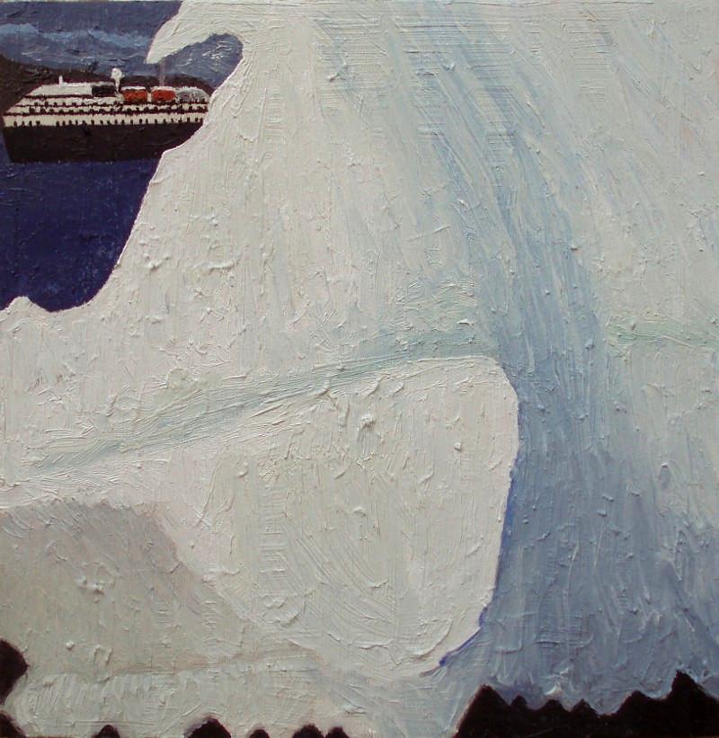 Isskosse på stranden Siorapaluk | 2015 | 30 x 30 cm, dyb, olie | 1850 kr.