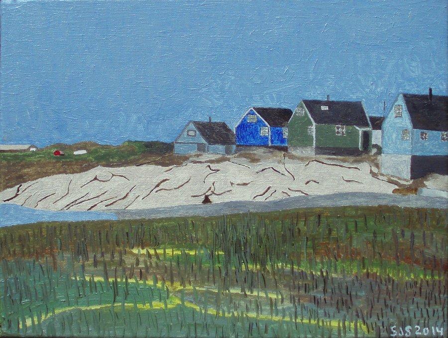 Parti fra Qeqertarsuaq (Godhavn) | Diskoøen | 2014 | 30 x 40 cm, olie | 2500 kr.