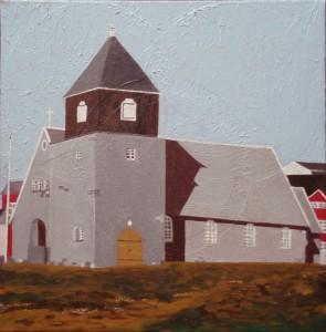 Uummannaq Kirke | 2015 | 50 x 50 cm, olie | 3500 kr.