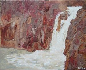 Vandfald, Diskoøen | 2015 | 38 x 46 cm, olie | 3500 kr.