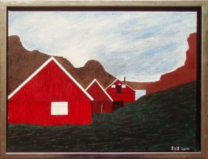 Ilulissat, boliger | 2014 | 30 x 40 cm, olie og akryl | 2850 kr.