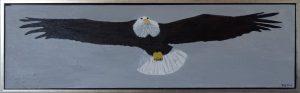 Den amerikanske ørn (hvidhovedet havørn), 2016, 40 x 125 cm, olie, 3500 kr.