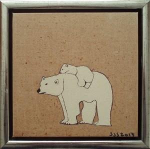 Isbjørn m. 1 unge | 2013 | 20 x 20 cm, olie | 1000 kr.