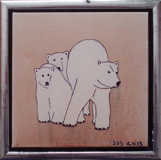 Isbjørn m. 2 unger | 2013 | 20 x 20 cm, olie | 1000 kr.