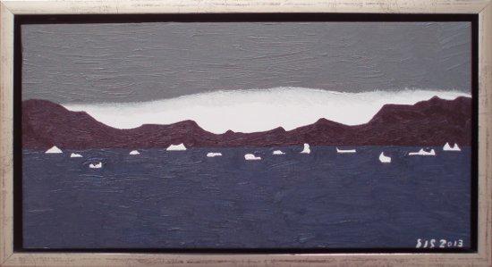 Parti fra Vestgrønland | 2013 | 20 x 40 cm, olie | 1500 kr.