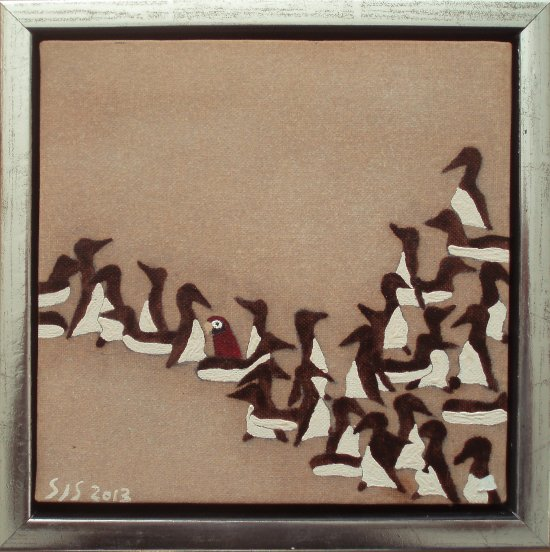 Polarlomvier m. papegøje | 2013 | 20 x 20 cm, olie | 1000 kr.