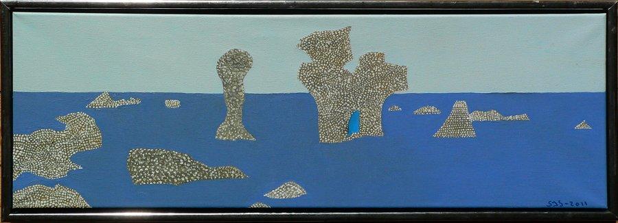 Rauker v/ Sankt Olof | Gotland, 2011 | 30 x 90 cm, olie på akryl | 1950 kr.