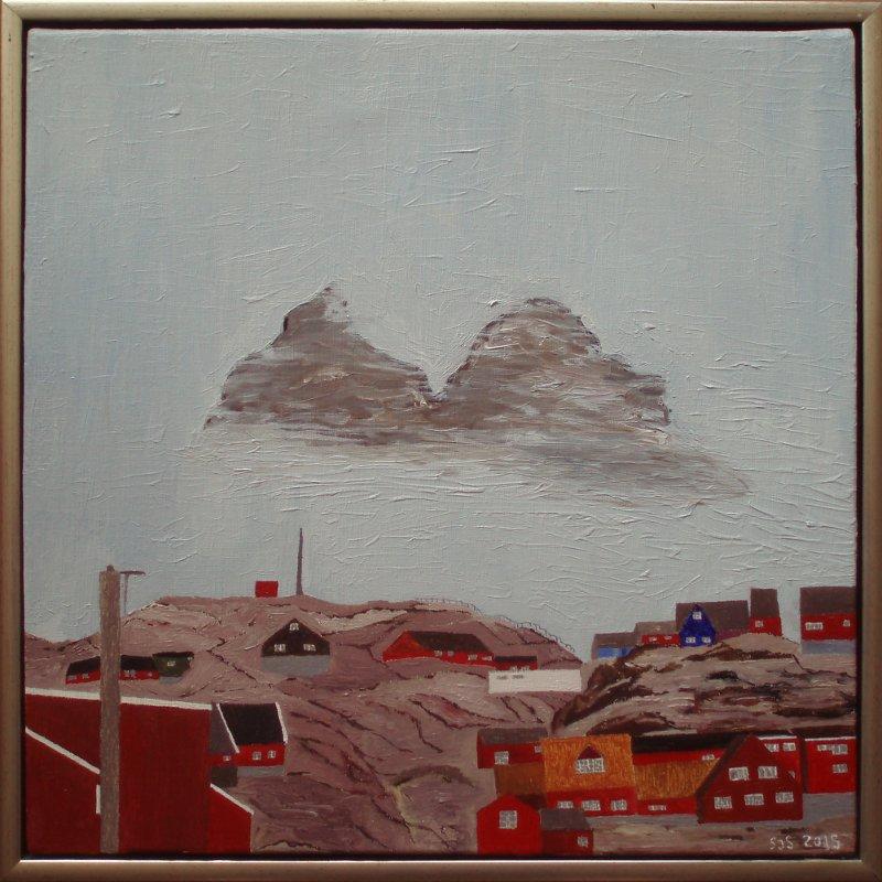 Uummannaq, by og fjeld | 2015 | 50 x 50 cm, olie | 3000 kr.