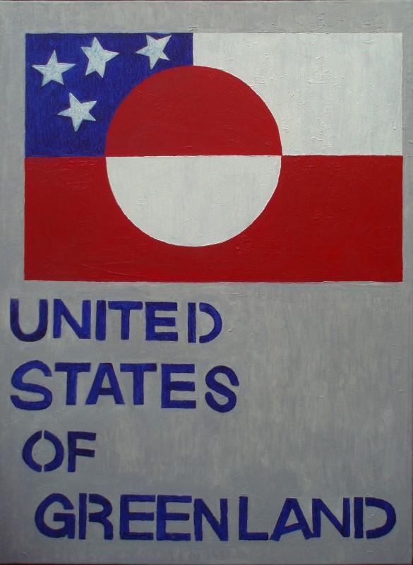 United States of Greenland (Inspiration fra anonymt vægmaleri i Sisimiut)   2015   80 x 60 cm, olie   3500 kr.