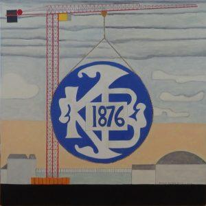 KB-hallen, byggeri, 2017, 80 x 80 cm, olie, uden ramme, 3000 kr.