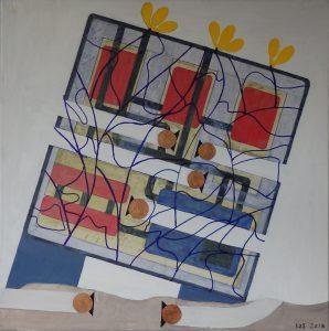 Miljørobotter, bygning med gule blomster - 2018 - Olie og akryl på lærred - 50 x 50 cm - pris: 2000 kr.