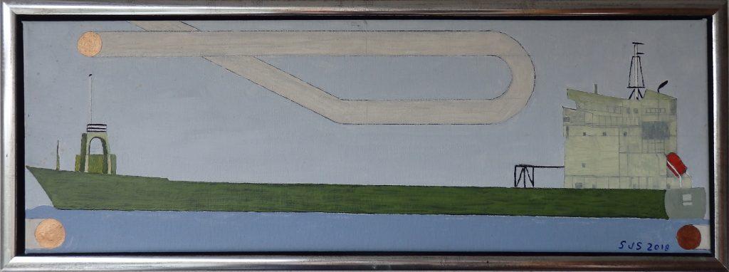 Miljørobotter, grøn transport - 2018 - Olie på lærred - 20 x 60 cm - pris: 1500 kr.