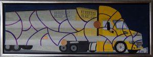 Miljørobotter, lastbil Alaska - 2018 - Olie på lærred - 20 x 60 cm - pris: 1500 kr.