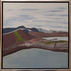 Atlanterhavsvejen, Vestnorge, 2018, 50 x 50 cm, olie på lærred, Pris 2500 kr.