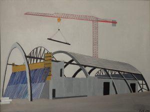 KB-hallen under opførelse, 2018, 60 x 80 cm, olie på lærred, Pris: 3500 kr.