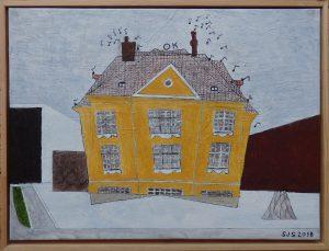 Den Gule Villa, Frederiksberg, 2018, 30 x 40 cm, olie på lærred, Pris: 2000 kr.
